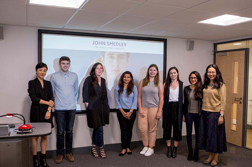 MA Fashion Management, Marketing and Communication students with the John Smedley marketing team