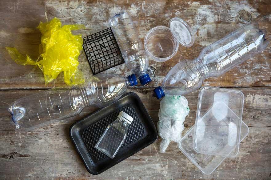 Plastics on a table