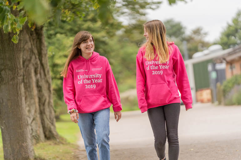 Student ambassadors walking at Brackenhurst Campus