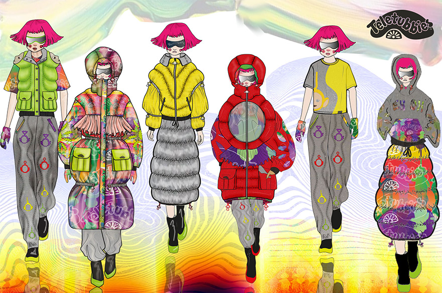 Bilal's line up of Teletubbies inspired Designs