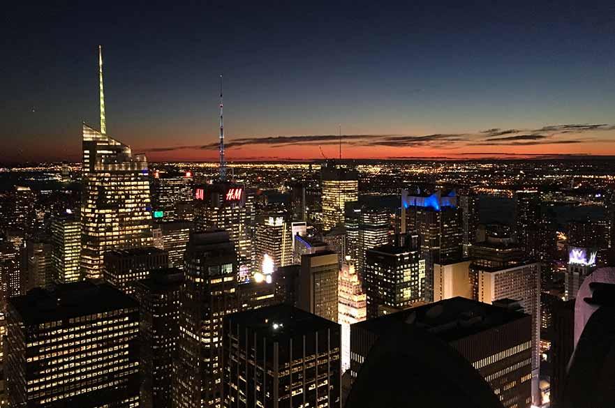 New York at night skyline