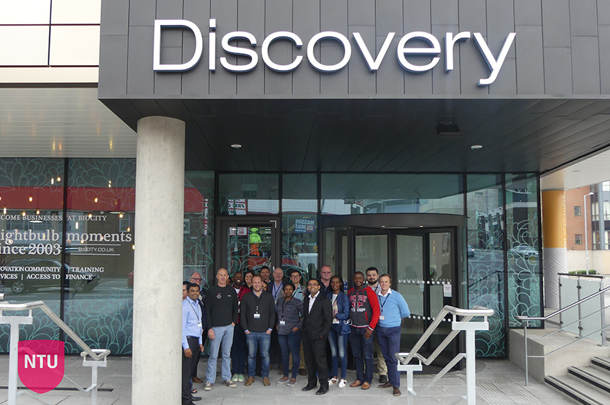 USB Students Outside the Discovery Building at Nottingham's BioCity