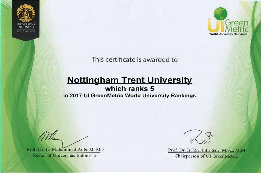 Certificate from UI Green Metric World University Rankings awarding NTU with 5th place