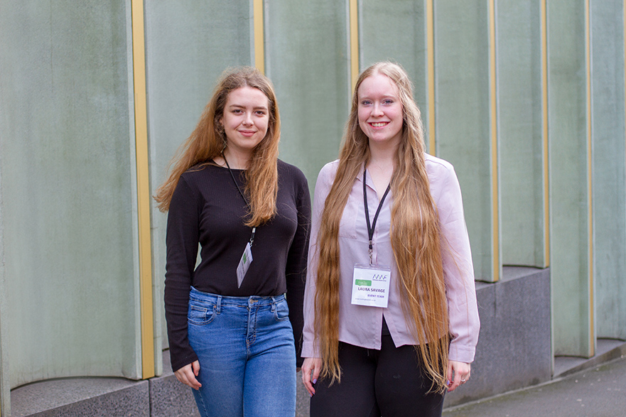 L-R: Amy Morley and Laura Savage, two of the students on placement at the festival