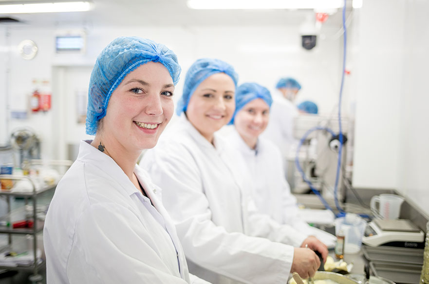 Students in food lab
