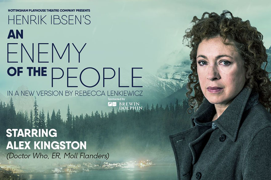An Enemy of the People poster with Alex Kingston on it.