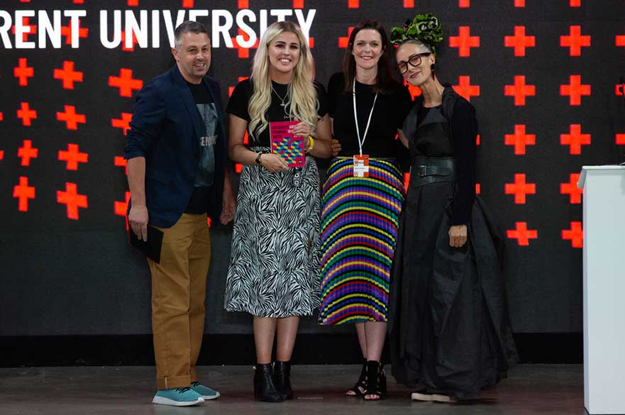Michaella with the Tu judges and GFW Global Ambassador Caryn Franklin MBE