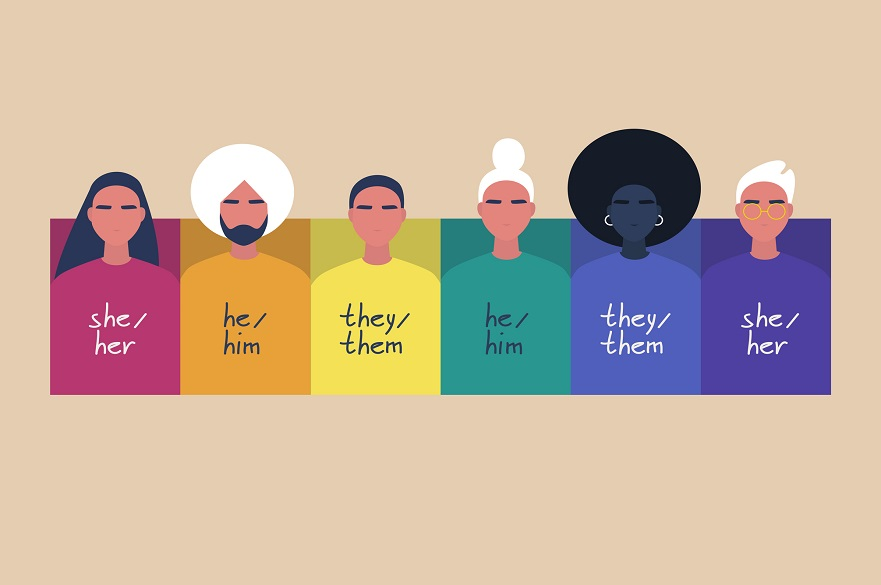 Graphic of people with different gender pronouns