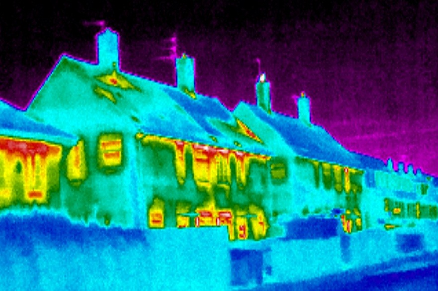 Row of buildings in infrared light