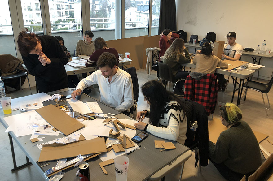 MA MSc Design students working with students from the Parisian Strate Design School during a study trip