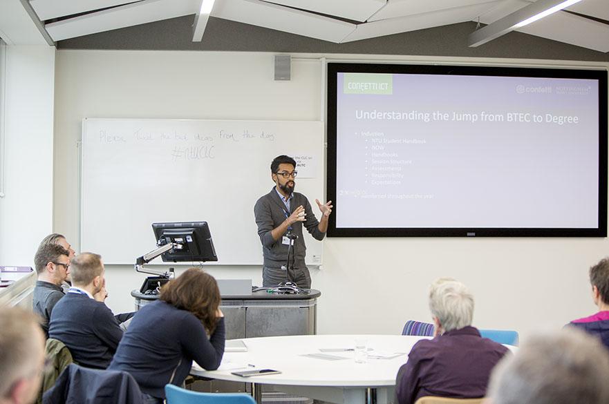 lecturer delivering presentation