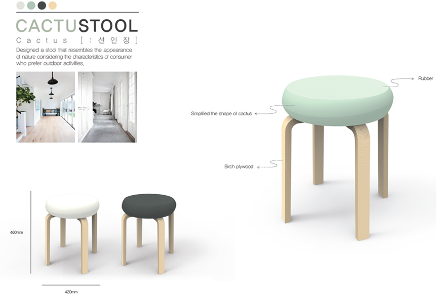 Stool design by Kim Hyeon Ji and Min Ji Yeon from Hanbat National University