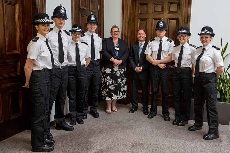 BA (Hons) Policing students with Phil Rudkin, course leader, and Tracey Pearsall, Nottinghamshire Police