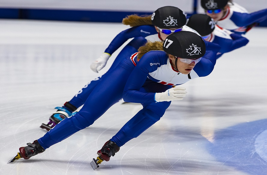 NTU student and speed skater Charlotte Hayward on the ice during competition