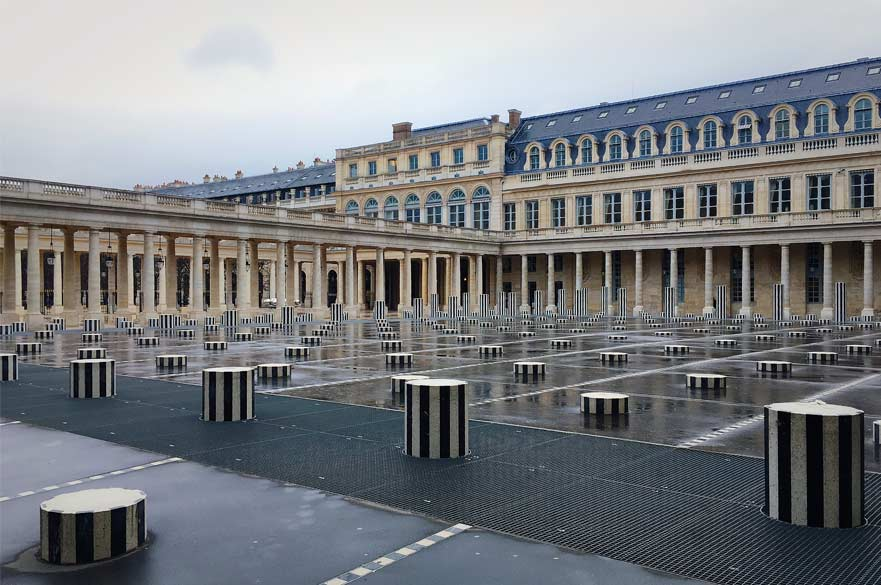 Colonnes de Buren, by French artist Daniel Buren, in the Palais Royal in Paris (Image credit: Xiaowen Huang)