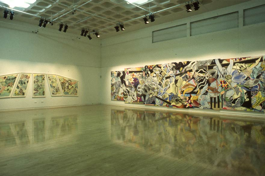 Installation view of Frank Stella Recent Paintings, 1999. Image courtesy of Frank Stella and Bonington Gallery