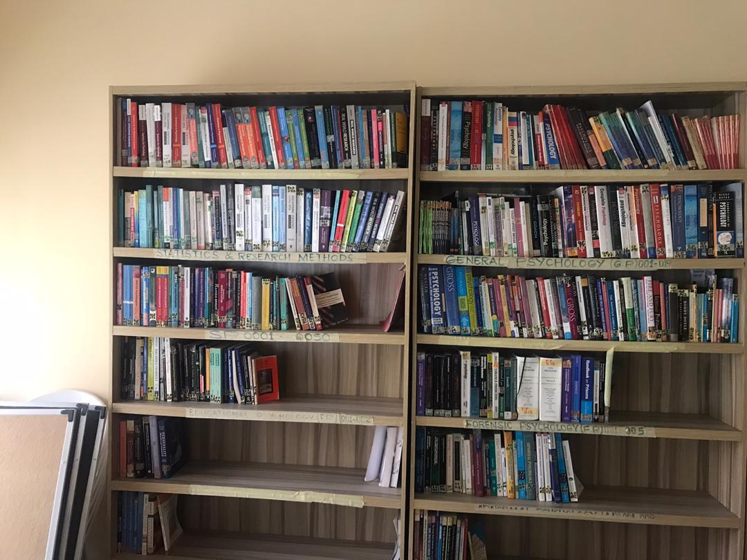 Donated books displayed