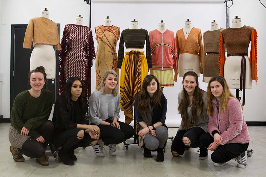 BA (Hons) Fashion Knitwear Design students with their SPINEXPO project work