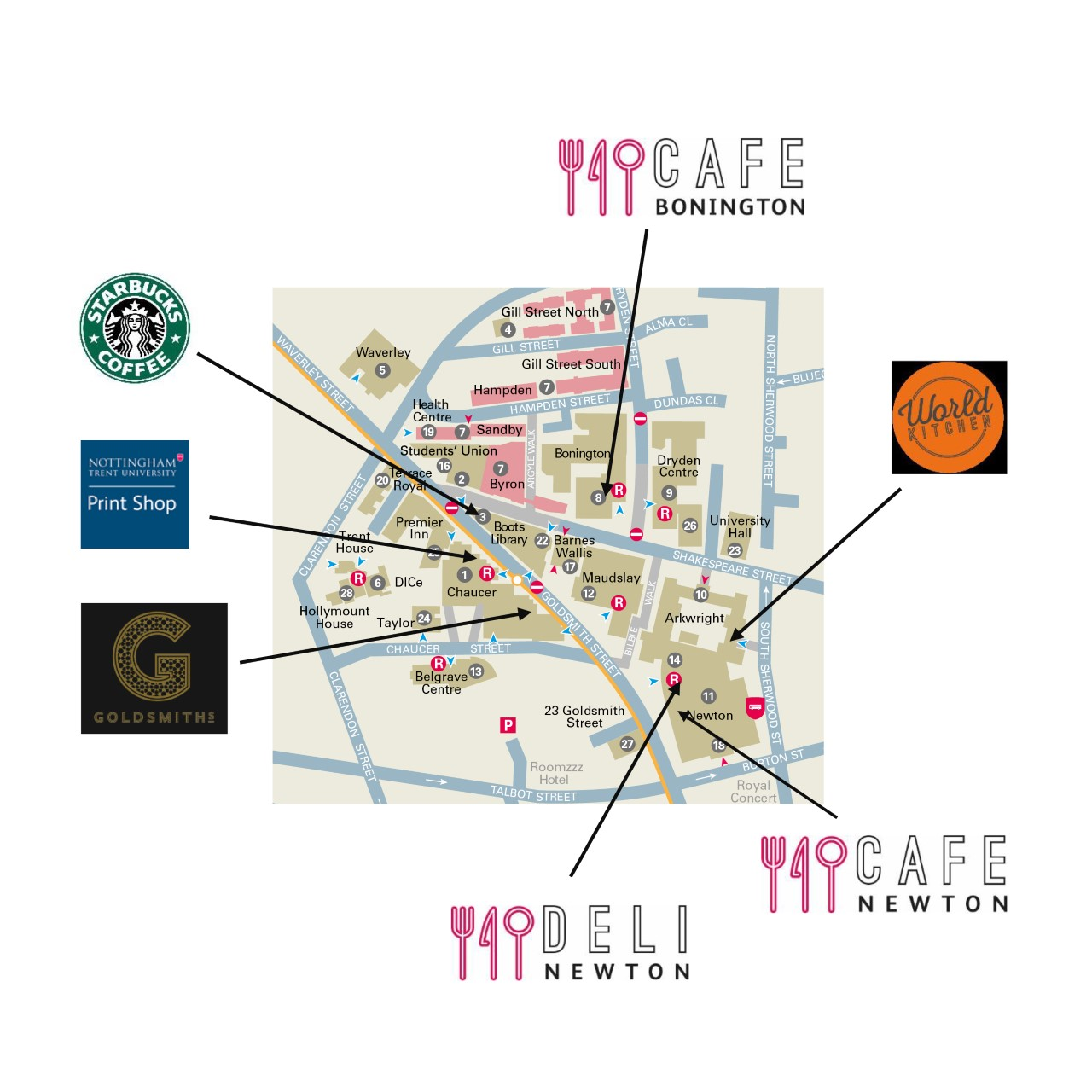 Map showing the locations of food outlets at City Campus