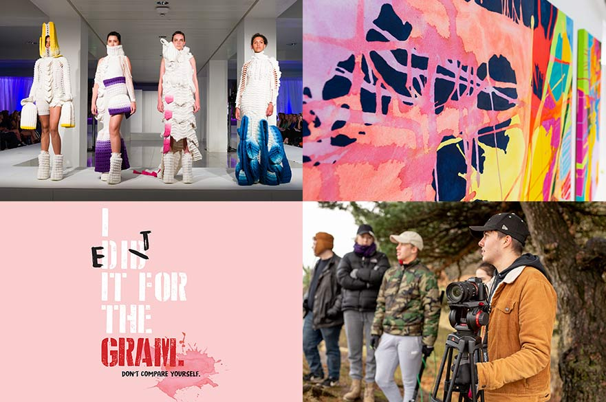 Images (clockwise from top left): Jacaranda Brain, BA (Hons) Fashion Knitwear Design and Knitted Textiles; Lauren Hutchins, BA (Hons) Fine Art; BA (Hons) Filmmaking students in the Peak District; Rebecca Wookey, BA (Hons) Fashion Communication and Promotion.