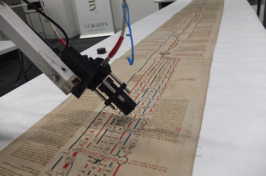 Spectral analysis of the Canterbury Roll, MS 1, Macmillan Brown Library, University of Canterbury, New Zealand (January 2018). Copyright Natasha Hodgson