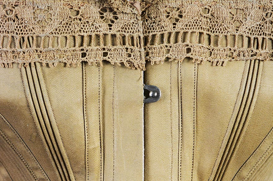 Gold silk corset with a lace trim