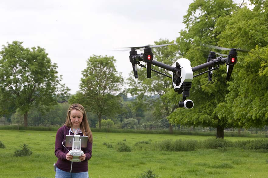 Drone flying at Brackenhurst Campus