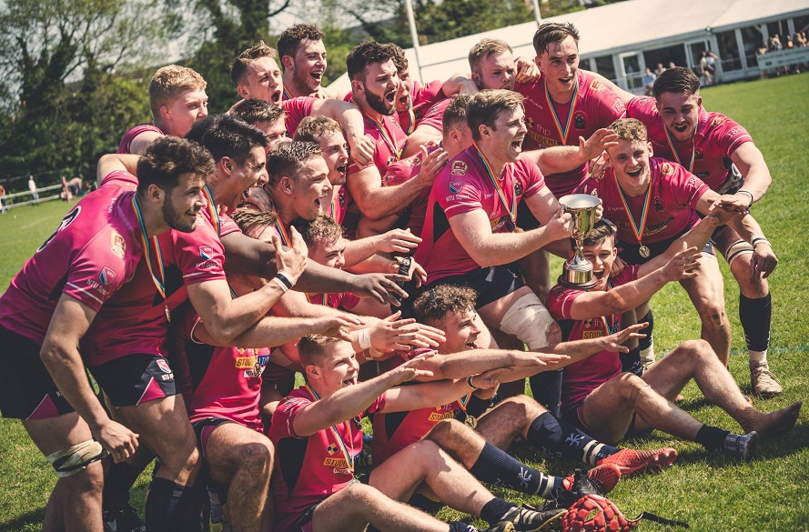 NTU Men's Rugby union players celebrate winning Varsity 2018
