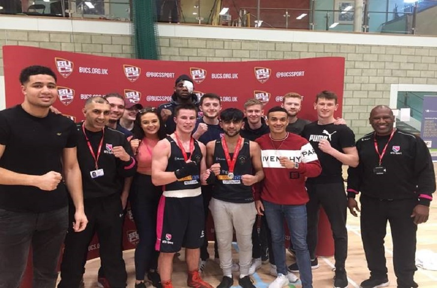 NTU Boxing club pose for photo with BUCS medals