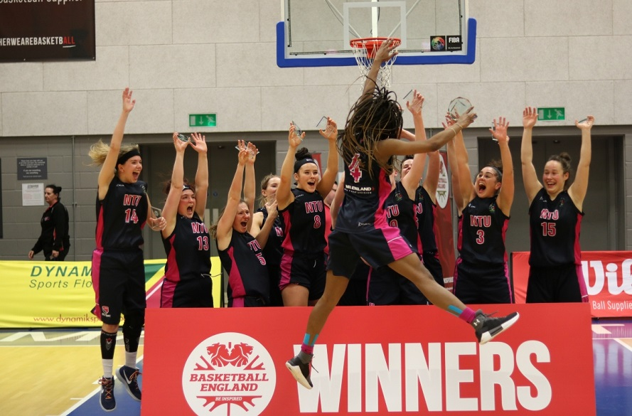NTU Women's Basketball celebrating